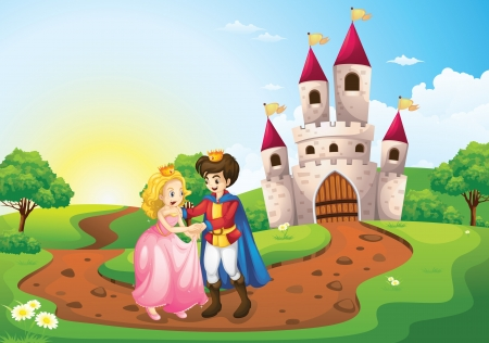 cartoon king: detailed illustration of king queen and a palace Illustration