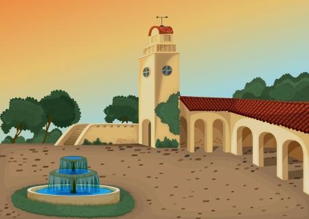 fountain: ilustraci�n detallada de un edificio bello en la naturaleza Vectores