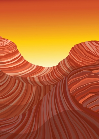 detailed illustration of abstract design of red mountain and sky Stock Vector - 15869583