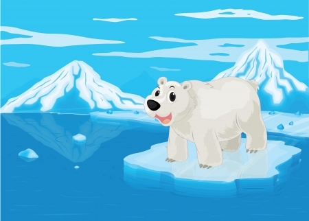 illustration of a polar bear and snowy mountain Stock Vector - 15869596