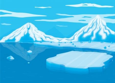 gla�on: illustration de montagne couverte de neige et de la mer Illustration