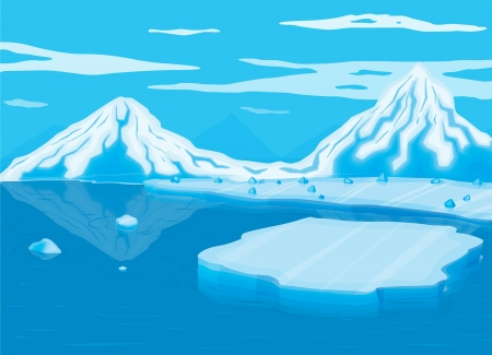 arctic landscape: illustration of mountain covered with snow and sea