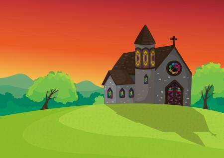 美しい自然の中で教会の詳細なイラスト  イラスト・ベクター素材