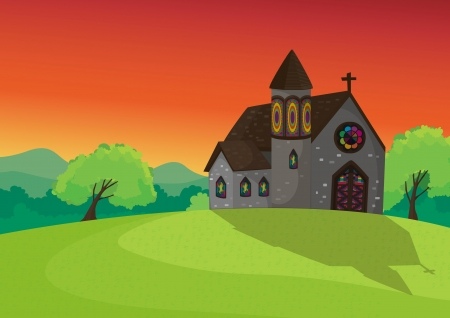 the setting sun: detailed illustration of a church in beautiful nature