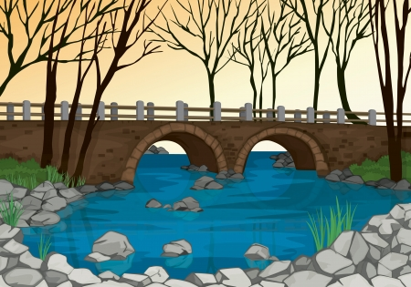 bridge illustration: detailed illustration of a bridge in nature and dry trees Illustration