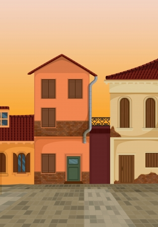 cobbled: detailed illustration of a beautiful house colony