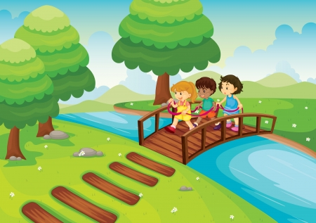 detailed illustration of a kids crossing bridge Vector