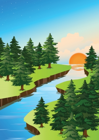 creek: detailed illustration of beautiful nature and sun