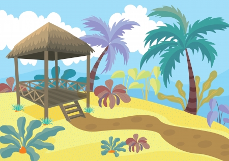 detailed illustration of a beautiful landscape and palm tree Stock Vector - 15869506