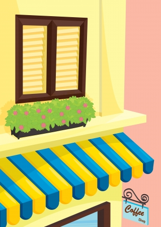 restaurant exterior: detailed illustration of a coffee shop front