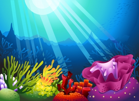 detailed illustration of a seaweed and sunbeam Vector