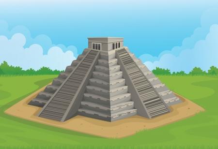 chichen itza: illustration of Pyramid of the sun, Chichen Itza