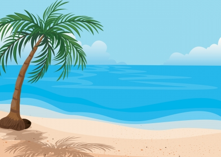 detailed illustration of a beautiful sea shore Illustration