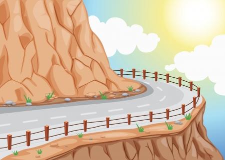丘の側道とカラフルな空の詳細なイラスト