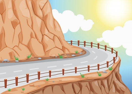railings: detailed illustration of hill side road and colorful sky