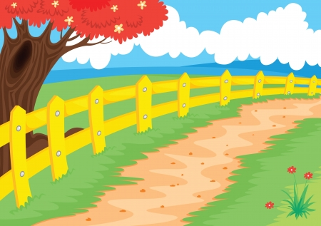 rural road: illustration of a countryside path in beautiful nature Illustration