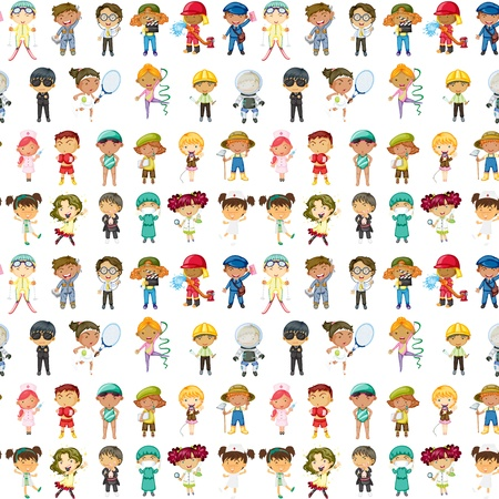 illustration of kids on a white background Stock Vector - 15869692