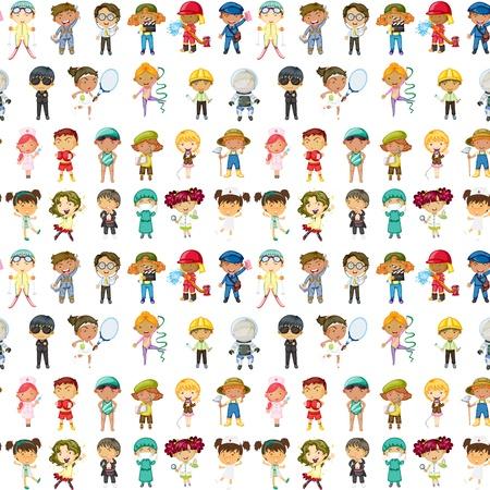 ilustración de los niños en un fondo blanco