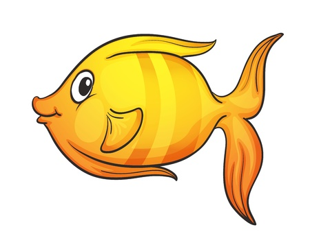 small fishes: illustration of yellow fish on a white background