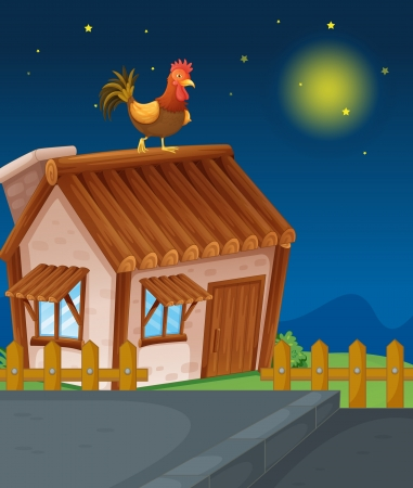 wood house: illustration of a house and hen in night
