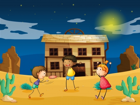 illustration of kids and a house in a desert Stock Vector - 15869630