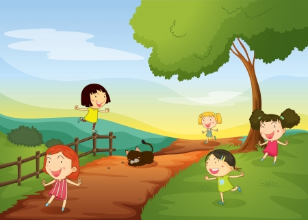 illustration of girls and cat in a beautiful nature Illustration
