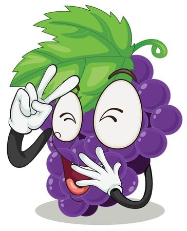 mani cartoon: Illustrazione di uve su uno sfondo bianco Vettoriali