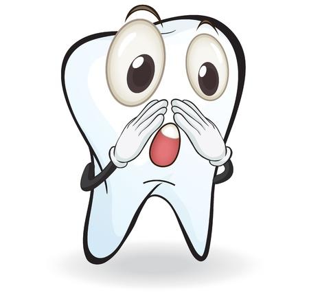 diente caries: Ilustraci�n de diente en un fondo blanco