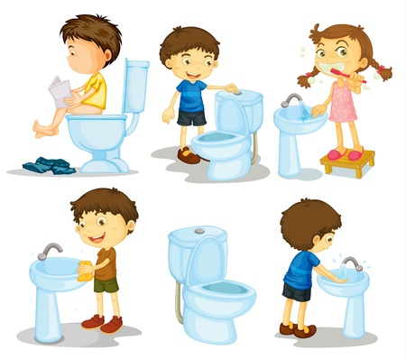 ванная комната: Иллюстрация детей и аксессуаров для ванной комнаты на белом фоне
