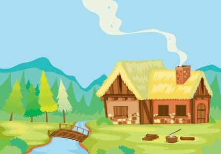 gedetailleerde illustratie van een huis in de natuur Stock Illustratie