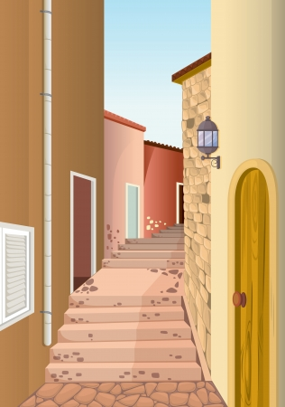 illustration of house colony with staircase passage