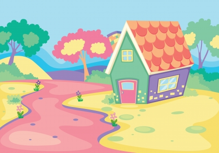 detailed illustration of a house in beautiful nature Vector