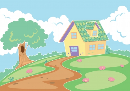 detailed illustration of a house in nature Stock Vector - 15864114