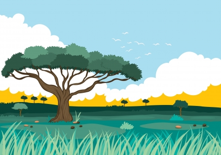 illustration of a beautiful landscape and tree Vector