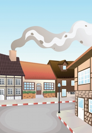 detailed illustration of colony of houses and road Stock Vector - 15864175