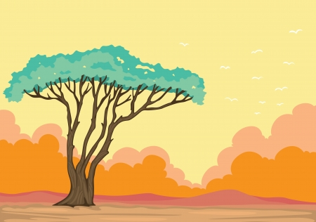 detailed illustration of a green tree in beautiful nature Vector