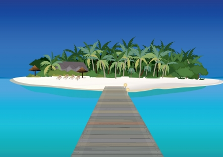 detailed illustration of small island and bridge Vector