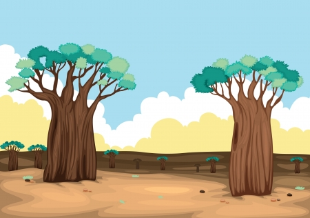 cartoon landscape: illustration of two trees in beautiful nature