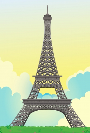 detailed illustration of Eiffel Tower in France Vector
