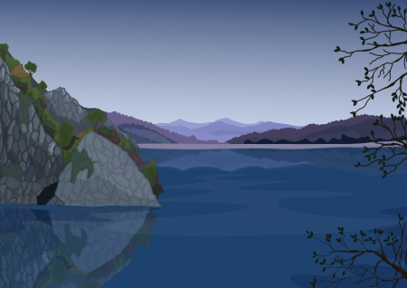 detailed illustration of a beautiful landscape and water Vector