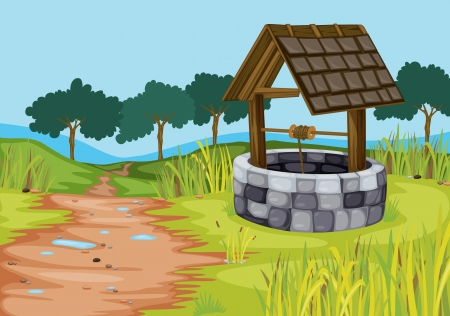farm structure: detailed illustration of a well in beautiful farm Illustration