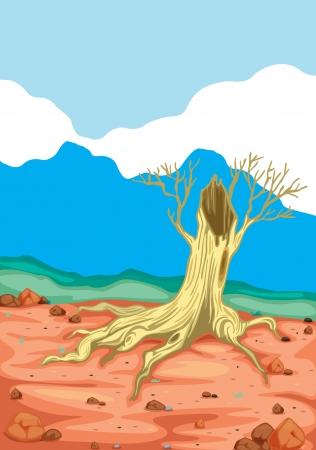 detailed illustration of broken tree in beautiful nature Stock Vector - 15864108