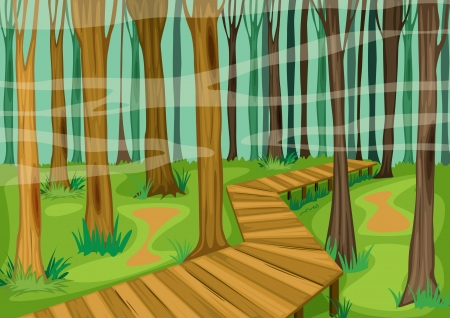 illustration of a beautiful landscape and road between woods Vector