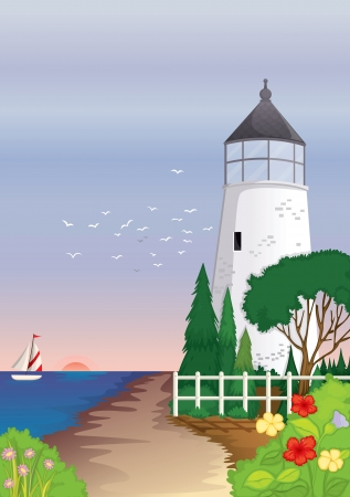 illustration of a house on the sea shore Vector