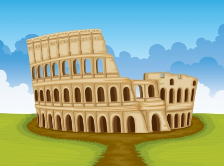 amphitheatre: illustration of famous Colosseum in Italy Illustration