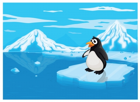 detailed illustration of penguine on iceland in sea Stock Vector - 15864178