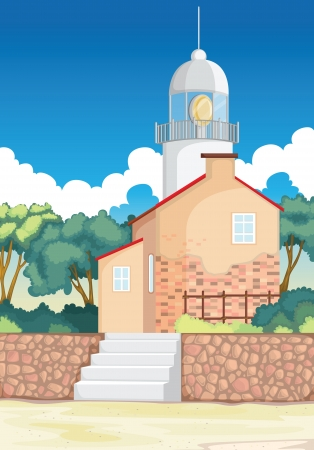 balcony view: illustration of a beautiful house with tower in nature