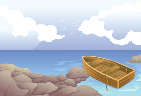 detailed illustration of a boat in a sea Vector
