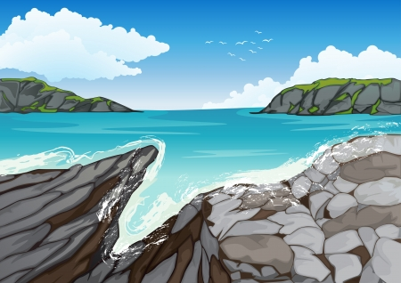 illustration of a beautiful coast with natural stone wall Vector