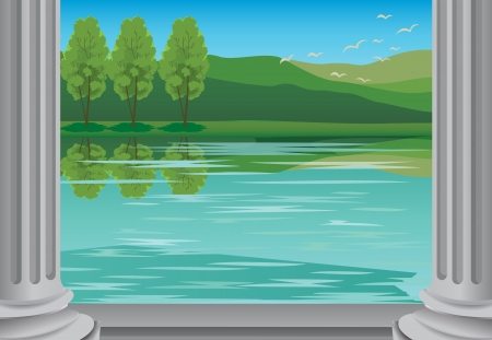 river bank: detailed illustration of a beautiful landcape and bank